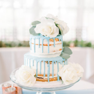 Naked Blue Drip Cake